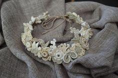 Wreath hair. Crocheted flowers. Irish crochet. Lace. por AlisaSonya
