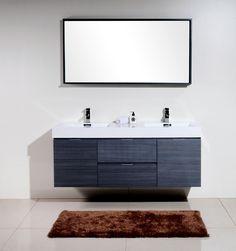 """Bliss 60"""" Gray Oak Wall Mount Double Sink Modern Bathroom Vanity - Los Angeles Vanity"""