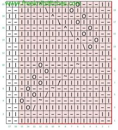 Chart for Leaves knit stitch Lace Knitting Stitches, Loom Knitting, Knitting Patterns, Yarn Over, Chart, Crown Symbol, Google Translate, Shape, Knitting Needles