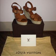 Louis Vuitton espadrilles sandals leather wedges Authentic. Embossed monogram leather espadrille wedge sandals with gold ton hardcore and buckle closure at ankle. Comes with box and dust bags. Louis Vuitton Shoes Sandals