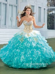 Blue & Gold Quinceanera Dress | Quinceanera Dresses |