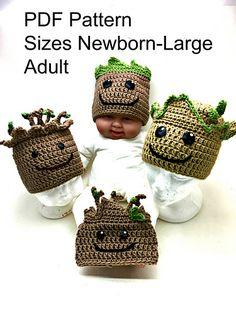 Crochet baby groot hat pattern only crochet hats вязание, ша Crochet Kids Hats, Crochet For Boys, Crochet Beanie, Crochet Crafts, Crochet Clothes, Crochet Projects, Knitted Hats, Baby Groot, Baby Hat Patterns