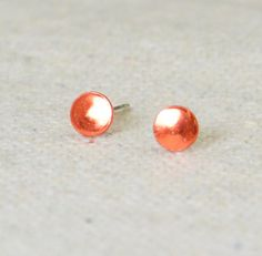 Orange Silver Circle Earrings, Sterling Silver Earrings, Silver Stud Earrings, Simple Silver Earrings, Orange Earring, Nano Ceramic Earring by Alaridesign