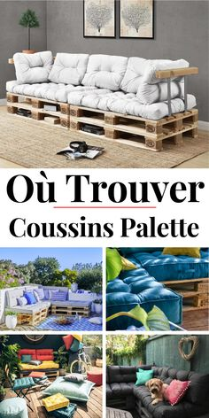 Looking for or mattresses for your furniture? For a garden furniture palette, a sofa in a pallet or even a bed in a pallet, discover where to buy cushions and mattresses Resin Patio Furniture, Pallet Garden Furniture, Recycled Furniture, Outdoor Furniture Sets, Outdoor Decor, Outdoor Pallet, Banquette Palette, Pallet Couch, Sofa