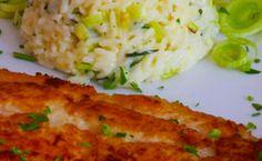 Receita de peixe grelhado (linguado) com risoto de alho-poró e queijo pecorino.