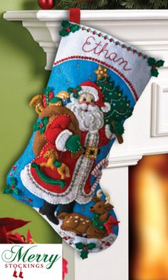 Traditional Santa stocking kit from Bucilla. New release kit available April 2013 from MerryStockings.com