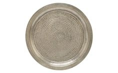 """DAR TRAY - ROUND $120.00  •18.5"""" diameter x 1""""H •hand crafted •brass •silver plated finish •hammered four dot design •decorative use only"""
