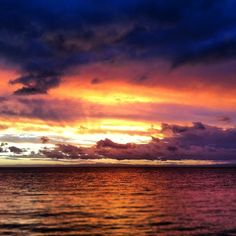 Missing this sky.....beautiful, fiery sunset from Tangalooma Island, Australia.