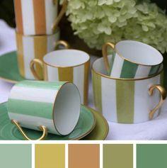 Collection Transat, tasse café et tasse droite / Collection Transat, coffee cup and straight cup. Porcelaine Marie Daage couleur verte/ color Green