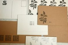 Make your own postcards by gluing the front of an old card on some cardboard. Add some stitching for extra decoration