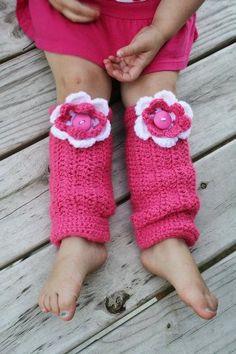 Pink & white toddler crochet leg warmers!