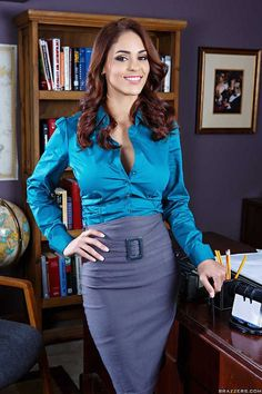 This grey belted pencil skirt and teal blouse make a nice change for the secretary look.