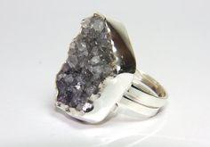 oversized dark purple amethyst quartz ring by FavelaJewelry-raw natural materials fashion jewelry trends