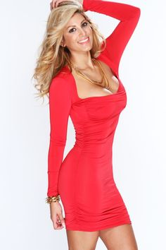 If youve been searching for a charming new frock, then youre in luck! Wearing this look with classic pumps, demure earrings, and an understated clutch is a fashionable chance worth taking! This dress features long sleeves, ruched sides, crossover front, decollete neckline and tight fitted to show off your sexy curves. 96% Polyester 4% Spandex