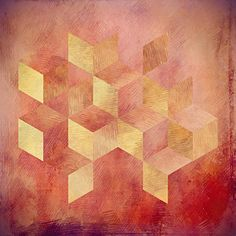 Geometric Digital Art - Abstract Red And Gold Geometric Cubes by Brandi Fitzgerald
