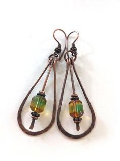 Hand-formed antiqued copper long drop earrings with Czech glass faceted beads by MEFK