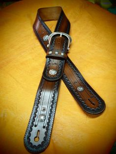 Hand tooled Leather guitar strap! GUNSMOKE!