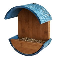 Stoneware and wood Empire Bird Feeder | Uncommon Goods