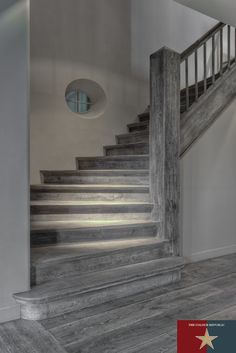 Dark Grey Natural Oak Floors, Bespoke Staircase & Bespoke Solid Wood Flooring | Reclaimed Flooring Company