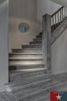 Dark Grey Natural Oak Floors, Bespoke Staircase & Bespoke Solid Wood Flooring | Reclaimed Flooring Company