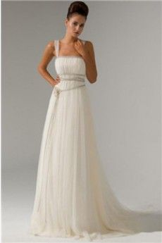 A-Line/Princess Straps Sweep/Brush Train Tulle Wedding Dress