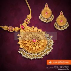 superlative traditional looking necklace . Pendant Jewelry, Beaded Jewelry, Gold Pendant, India Jewelry, Temple Jewellery, Gold Jewelry Simple, Gold Jewellery Design, Jewelry Patterns, Wedding Jewelry