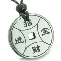 Amulet Lucky Coin Medallion Hematite Good Luck Powers Pendant Necklace