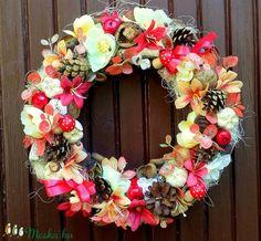 """""""Színes október"""" őszi koszorú nagy méret (28 cm) (pinkrose) - Meska.hu Floral Wreath, Wreaths, Diy, Home Decor, Do It Yourself, Flower Crown, Decoration Home, Door Wreaths, Bricolage"""
