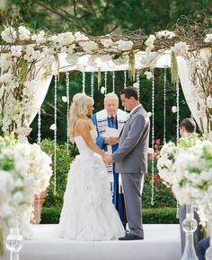 Romantic All White Wedding - 15 Cool Wedding Chuppah Ideas, http://hative.com/cool-wedding-chuppah-ideas/,