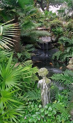 Lamorran House Gardens Cornwall UK A coastal garden with an eclectic mix of statuary and water features 2 of 11 Seaside Garden, Coastal Gardens, Tropical Garden, Tropical Plants, Tropical Paradise, Dream Garden, Garden Art, Garden Plants, Jungle Gardens