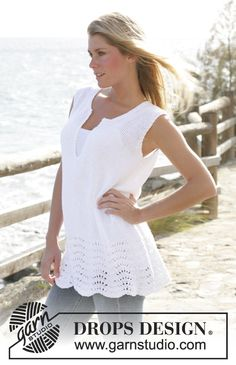 """Pacific Waves - DROPS tunic knitted in wave pattern with """"Bomull- Lin"""" - Free pattern by DROPS Design"""