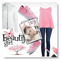 """""""pinky ❤"""" by omniaasaad ❤ liked on Polyvore featuring Topshop, Woolrich and Vans"""