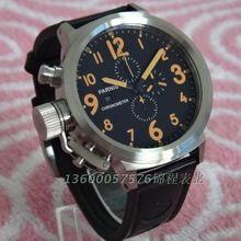 50 mm PARNIS Japanese quartz movement timing clock leather strap orange scale men's watch quartz watch