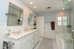 Marble and subway tile