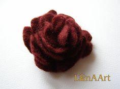 Rose felted flower brooch/ hair clip in dark wine red by LanAArt