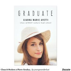 Done stylish graduation photo announcements paper by wander paper clean and modern 2 photo graduation announcement invitation college high school filmwisefo