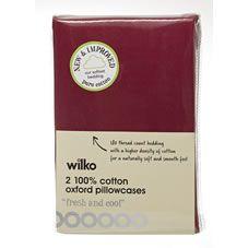 Wilko Oxford Pillowcases Dark Red x 2