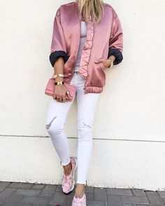 The Bomber jacket is this seasons biggest trend #mango #bomberjacket #pink #dior #diorsneakers #ragandbone #whitejeans #chanelwoc #hermesclicclac #nicoleontrend #prettylittleiiinspo