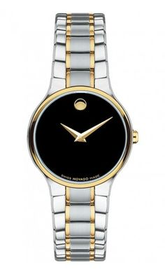Movado Serio white and yellow gold with black dial