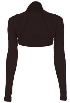 Fashion Victim, Ladies Long Sleeve Bolero Shrug, Cardigan in Black, Dark Colors, One Size 4-10