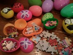 Fill easter eggs with puzzle pieces instead of candy for hunt.  As they find the eggs, they can put the puzzle together! Love this