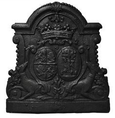 Antique cast iron #fireback with wedding coat of arms of Gilles Brunet, Marquis of la Palisse, and Françoise-Suzanne Bignon #18thcentury #frenchantiques Available on #MarcMaison 's website