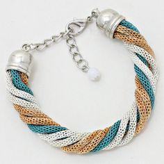 Tri colour mesh bracelet // #turquoise #silver #gold