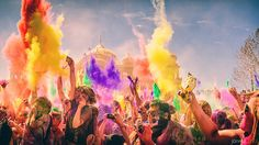 Holi / Festival of Colors at Sri Sri Radha Krishna Temple in Spanish Fork. Paint Fight, Celebration Love, Holi Festival Of Colours, Indian Festivals, Hindu Festivals, Creative Video, Color Powder, Art Festival, Short Film