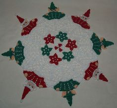 Christmas Peeking Santa &  Elves Doily Pattern by vjf25 on Etsy, $4.95