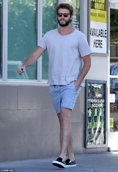 Out and about: Australian actor, Liam Hemsworth, looked relaxed and fresh faced on Wednesd...