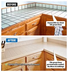 Are Your Tile Countertops Dated And Worn Grout Hard To Clean Do You Like The Shape Of But Want An Updated Design Miracle Method Can Refinish