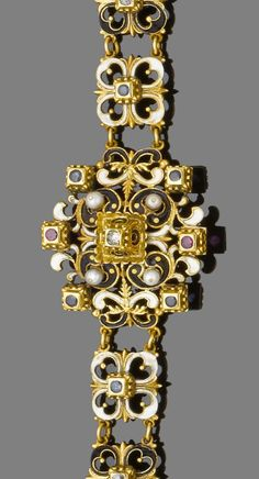 A late 19th century gold, enamel, pearl and gem-set Renaissance revival bracelet  The tiered tapering bracelet, designed as a series of openwork quatrefoil plaques, each decorated with either black or white enamel, alternately-set with circular-cut sapphires or rose-cut diamonds, the central plaque highlighted by pearls, similarly-cut sapphires, rubies and a rose-cut diamond in raised collets with scrolling decoration, pearls untested for natural origin, length 20.5cm