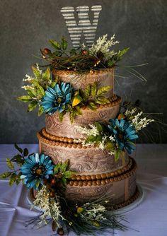 """Awesome """"tooled leather"""" buttercream wedding cake."""