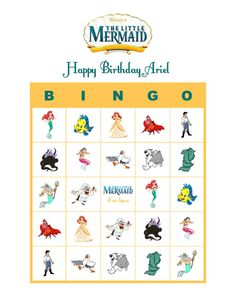 Personalized Little Mermaid Bingo Cards Delivered by Email